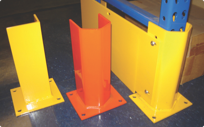End of aisle guards to protect pallet racks in warehouses from forklifts