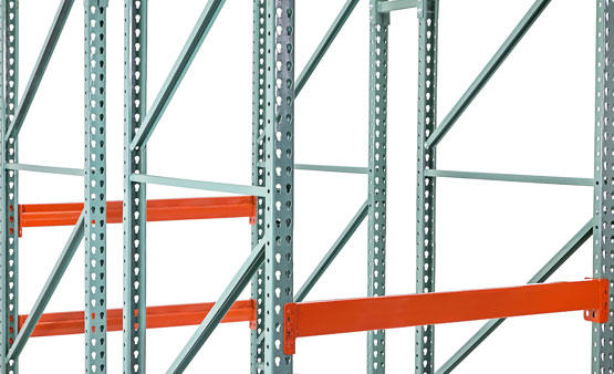 Pallet racking with Tear Drop/Riveted Beam End Plate design
