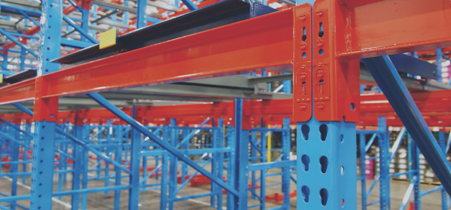 Closeup of galvanized pallet racking in a warehouse made by UNIRAK